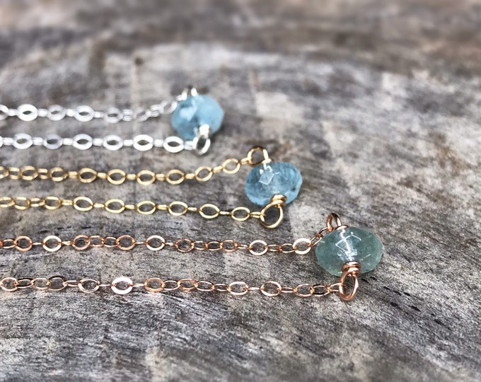 Tiny March Birthstone Necklace - Genuine Faceted Aquamarine - Sterling Silver / 14k Yellow Gold Fill / 14k Rose Gold Fill - Minimalist
