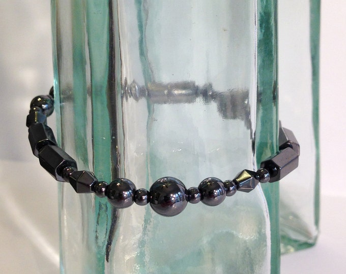 Regency bracelet - magnetic hematite- custom sized to order