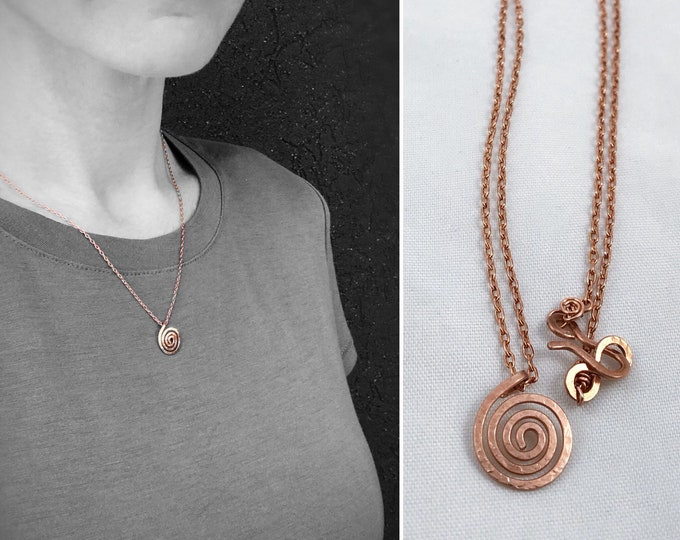 Copper Spiral Necklace - Solid Copper - Small Koru Spiral - Hammer Formed - Subtle Hammered Texture  - Rustic - Minimalist