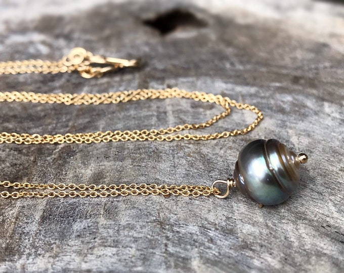 Tahitian Pearl Pendant Necklace - 14k Yellow Gold Filled - Single Genuine Baroque Tahitian Pearl - Silver/Bronze/Blue Saltwater Pearl