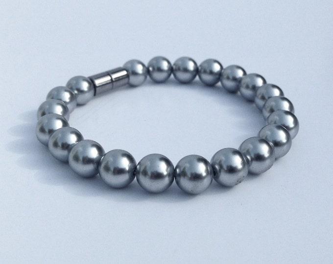 Magnetic hematite bracelet - lustrous grey pearl finish - custom sized