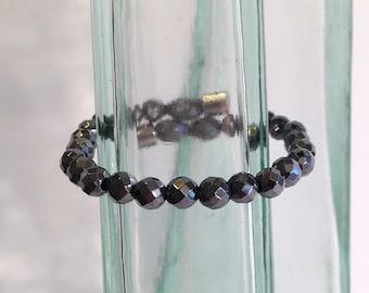 Faceted magnetic hematite bracelet - 6mm faceted beads - custom sized