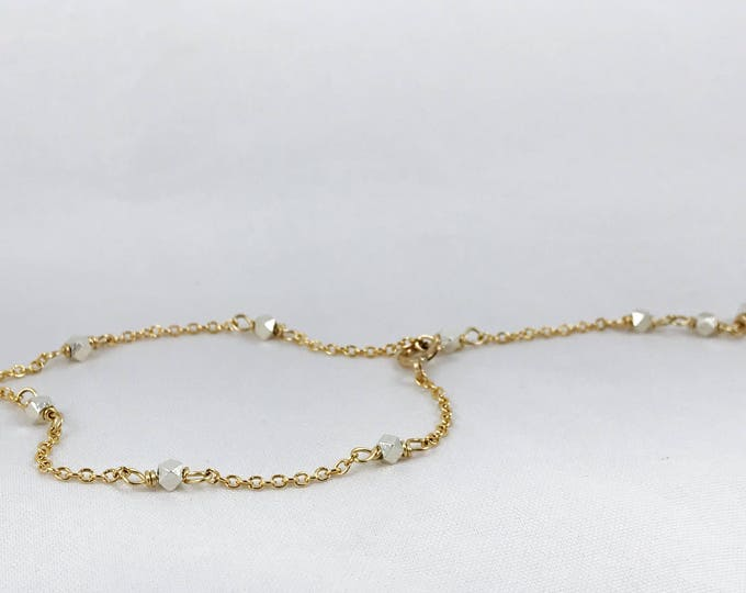 Two Tone Geometric Chain Bracelet - Fine Silver Hexagon Nuggets and 14k Gold Filled Chain - Adjustable - Gold/Silver Layering Bracelet