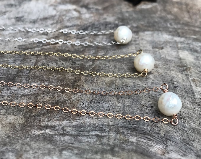 Tiny June Birthstone Necklace - Genuine Faceted Freshwater Pearl - Sterling Silver / 14k Yellow Gold Fill / 14k Rose Gold Fill - Minimalist