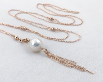 Pearl Tassel Lariat Necklace - 14k Rose Gold Filled Y Necklace- Long Adjustable Length - Genuine White Freshwater Fireball Pearl