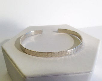 Sterling Silver Cuff Bracelet - Hammered Textured - Rustic - Hammer Wrought - Custom Sized