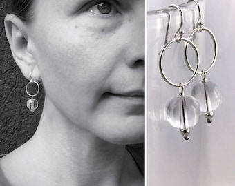 """Silver Circle Quartz Crystal Earrings - Solid Sterling Silver - Round Quartz Crystal Orbs - Dangle Earrings - Pools Of Light - """"Moon Circle"""""""