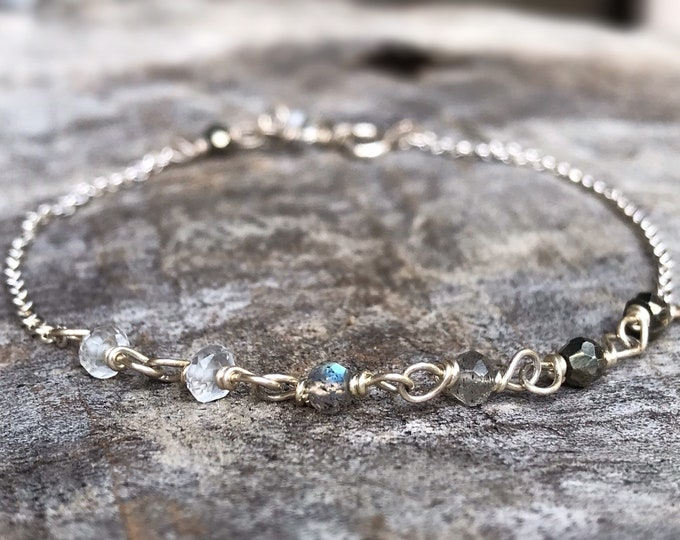 Faceted Stone Chain Bracelet - Ombre Stone Bracelet - Sterling Silver - Quartz Crystal - Labradorite - Pyrite - Adjustable Chain