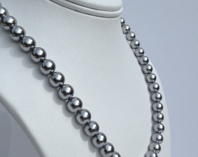 Magnetic hematite necklace - lustrous grey pearl finish - custom sized