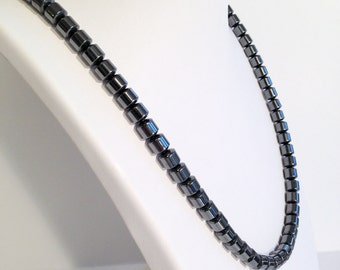 Magnetic hematite necklace - 6mm drum beads - custom sized