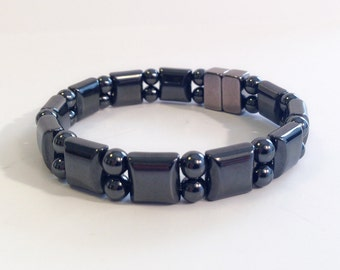 Magnetic hematite bracelet - double stranded watchband style - custom sized