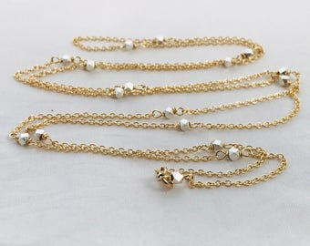 Long Two Tone Geometric Lariat Chain Necklace - Adjustable Multi Style Wear- Fine Silver Hexagon Nuggets and 14k Gold Filled Chain