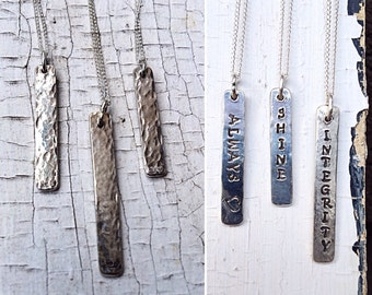 Sterling Silver Vertical Bar Necklace -Reversible - Hammered Textured - Rustic - Hand Wrought - Custom Stamping - Personalized