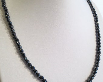 Tiny faceted magnetic hematite necklace - 4mm faceted beads - custom sized