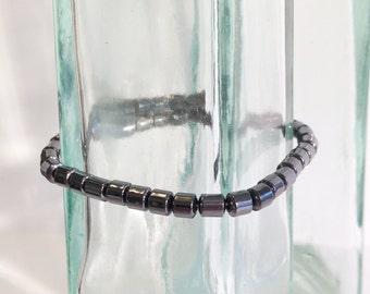 Magnetic hematite bracelet - 4mm drum beads - custom sized
