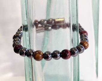 Magnetic hematite bracelet - eye of the tiger color design - custom sized
