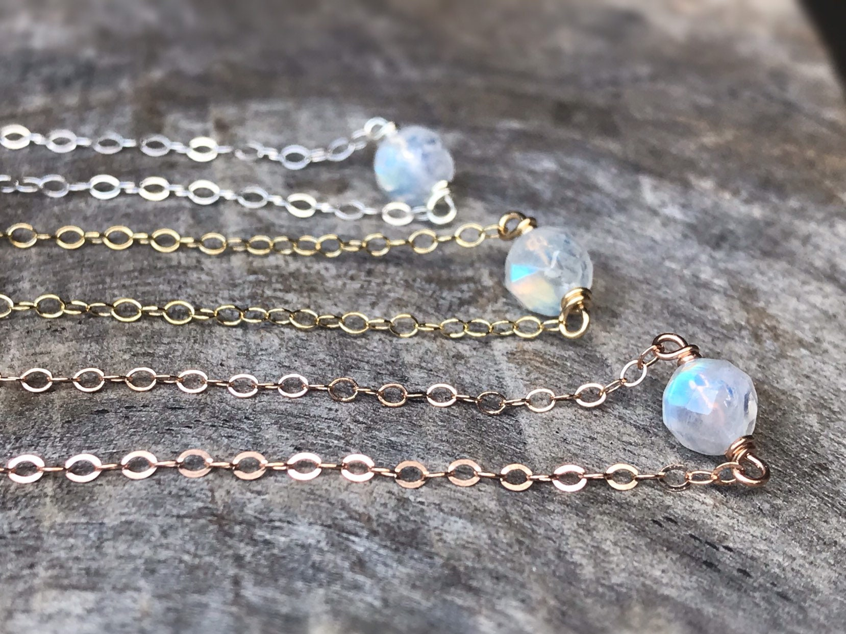 15ffe816bfa1a9 Tiny June Birthstone Necklace - Genuine Faceted Rainbow Moonstone