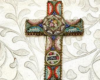 Micro Mosaic Cross, Vintage Micro Mosaic Cross, Cross, Antique Cross, Italian Cross, Mosaic Cross Pendant, Italian Cross