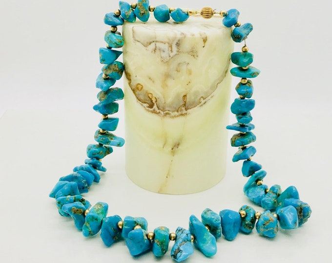 Turquoise Necklace, Chunky Turquoise Necklace with Yellow Gold Beads, Chunky Turquoise Necklace, December Birthstone, Turquoise Nugget