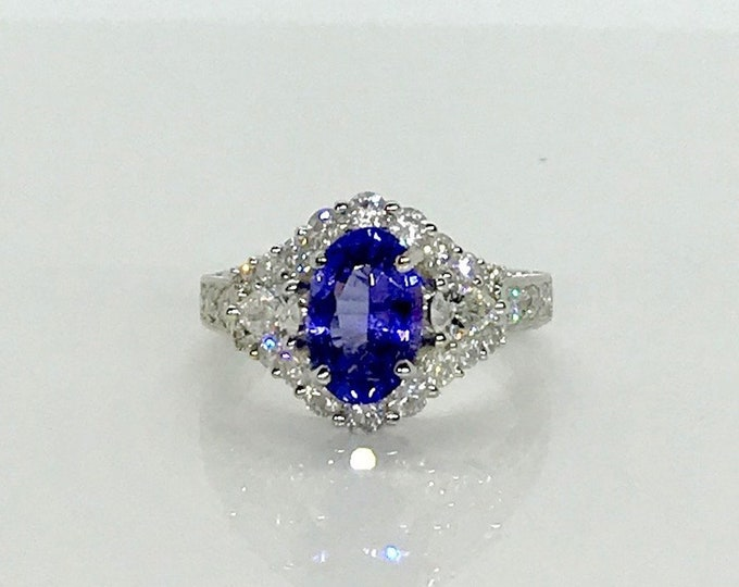 Featured listing image: White Gold Tanzanite and Diamond Ring; Tanzanite Ring, Cocktail Ring, December Birthstone, Diamond Ring, Tanzanite Cocktail Ring