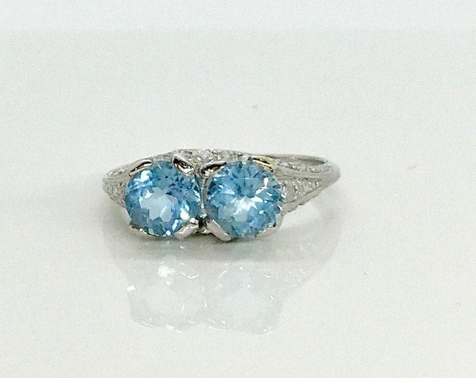 Featured listing image: Platinum Aquamarine and Diamond Edwardian Ring, Antique Aqua Ring, Platinum Ring, Aquamarine and Diamond Ring, March Birthstone