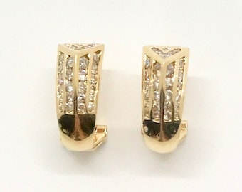 Yellow Gold Diamond Pierced Earrings, Vintage Diamond Earrings, Diamond Earrings, Channel Set Diamond Earrings, Hallmarked Earrings