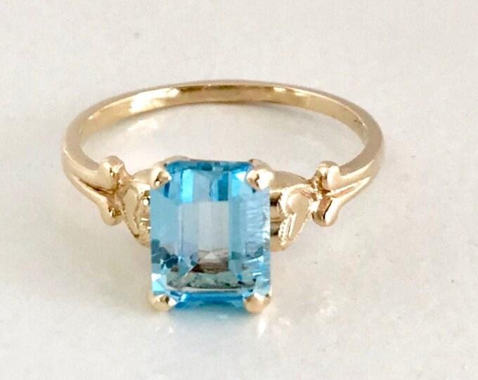 Vintage Blue Topaz Yellow Gold Ring, Blue Topaz Ring, Vintage Ring, Emerald Cut Blue Topaz Ring
