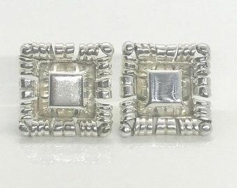 Signed Silver Earrings, Vintage Sterling Silver Mexican Taxco Signed Spratling Modernist Earrings, Hallmarked Silver Earrings
