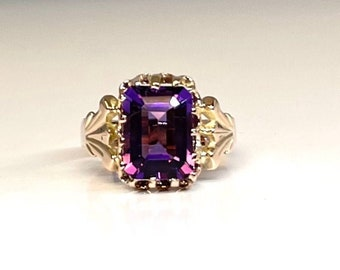 Yellow Gold Victorian Amethyst Ring, Antique Amethyst Ring, Victorian Amethyst, Victorian Ring, February Birthstone Ring