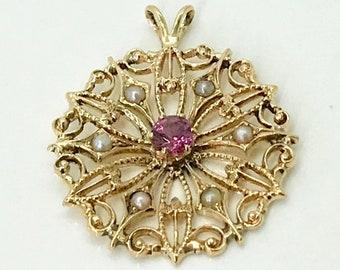 Yellow Gold Garnet Pendant, Garnet and Pearl Pendant, Antique Amethyst Pendant, Filigree Style Garnet and Pearl Pendant
