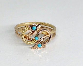 Yellow Gold Turquoise Ring, Vintage Turquoise Ring, Free Form Ring, Turquoise Ring, Vintage Ring, December Birthstone, Birthstone Ring