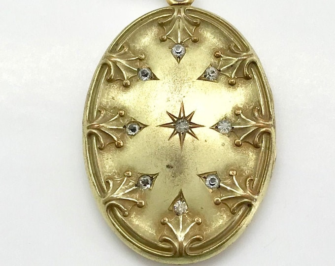Gold Filled Large Oval Locket with Rhinestones, Oval Locket, Rhinestone Locket