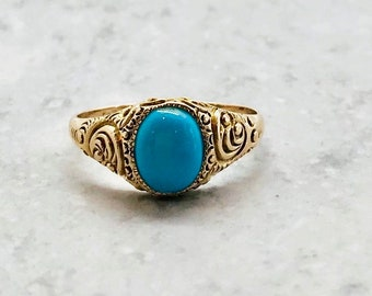 Victorian Yellow Gold Turquoise Ring with Engraved and Embossed Shoulders, December Birthstone