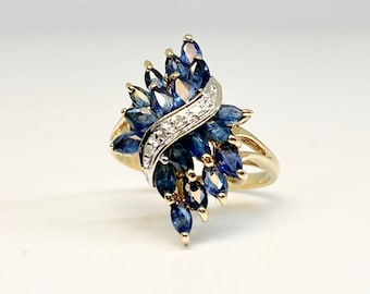 Yellow Gold Diamond and Blue Sapphire Cocktail Ring, Vintage Dinner Ring, Blue Sapphire and Diamond Ring