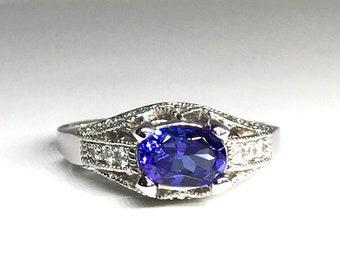 White Gold Filigree Tanzanite and Diamond Ring, Edwardian Inspired Diamond and Tanzanite Ring, December Birthstone Ring
