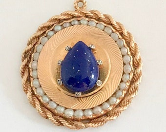 Large Yellow Gold Pear Shaped Lapis Lazuli Pearl and Diamond Pendant/Charm, Lapis and Pearl Pendant, Lapis and Diamond Pendant