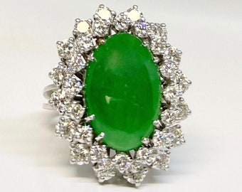 Vintage White Gold Diamond and Jade Cocktail Ring, Vintage Jade and Diamond Ring, Diamond and Jade Ring, Jade Dinner Ring