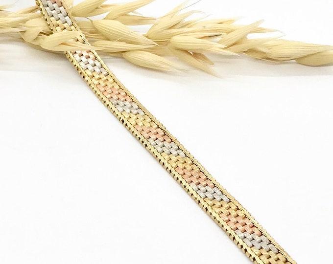 Multi Colored Gold Bracelet, Rose Gold Bracelet, White Gold Bracelet, Yellow Gold Bracelet, Gold Mesh Bracelet