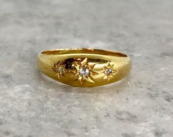 18 Karat Yellow Gold Diamond Band Ring, English Band Ring, Diamond Band Ring, Hallmarks, English Hallmarks, Victorian Ring