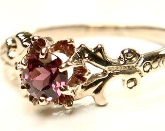 Yellow Gold Garnet Ring, Antique Garnet Ring, Rhodolite Garnet Ring, Victorian Garnet Ring, January Birthstone, Birthstone Ring