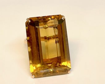 Yellow Gold Citrine Ring, Vintage Citrine Ring, Emerald Cut Citrine Ring
