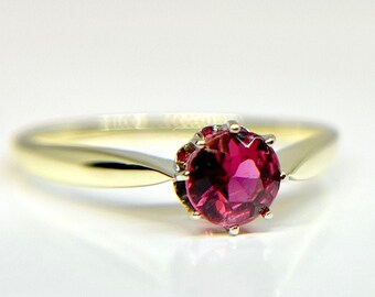 Vintage Yellow Gold Pink Tourmaline Solitaire Ring, Tourmaline Ring, Solitaire Ring, Tourmaline Solitaire Ring