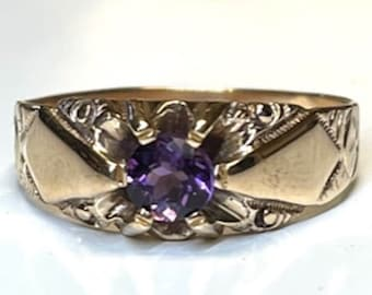 Yellow Gold Victorian Amethyst Ring, Amethyst Belcher Style Ring, Antique Amethyst Ring, February Birthstone Ring, Vintage Amethyst Ring