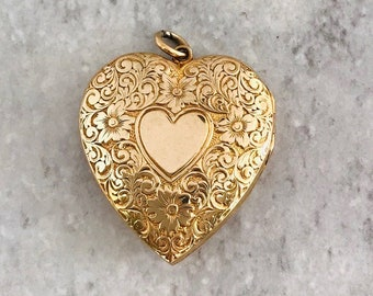 Yellow Gold Heart Locket, Engraved Heart Locket, Vintage Locket