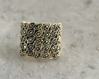 Sterling Silver Marcasite Band Ring, Wide Band Marcasite Ring, Sterling Silver Band Ring