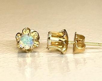 Yellow Gold Opal Buttercup Earrings, Vintage Opal Earrings, Vintage Opal Studs, Opal Earrings, October Birthstone