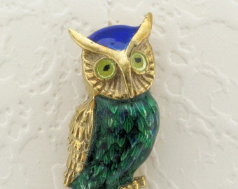 Yellow Gold Blue and Green Enamel Owl Pin; Owl Pin; Enamel Owl Pin; Enameled Owl; Owl