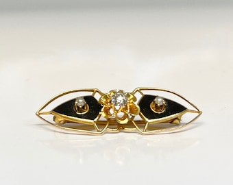 Antique Yellow Gold Black Enamel Diamond and Pearl Pin, Victorian Black Enamel Diamond and Pearl Brooch, Diamond and Pearl Pin