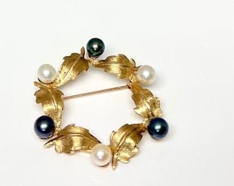 Vintage Yellow Gold Pearl Circle Pin, Circle Pin, Pearl Brooch, Vintage Pearl Brooch, Pearl Circle Brooch