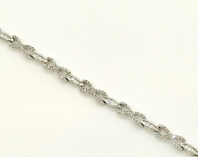 Vintage White Gold Diamond Link Bracelet, Diamond Bracelet with Eternity Links, Link Bracelet